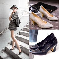Korean Leather Pointed Toe High Heel Shoes [4920470212]
