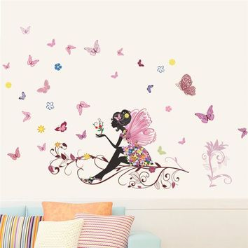 Fashion Mural Girl Butterfly Floral Wall Sticker