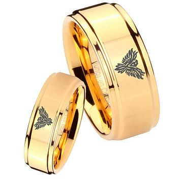 His Her Glossy Step Edges Phoenix 14K Gold IP Tungsten Wedding Rings Set