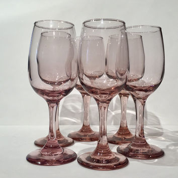Libbey Glass Pink Purple Wine Glasses, Pink Stemware Goblets, Libbey Premiere Plum Pink, Vintage Pink Wine Water Glasses Wedding Toasting