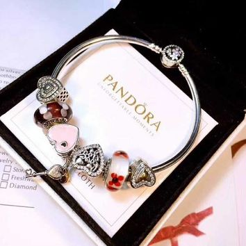 Authentic Pandora Women Fashion Crystal Plated Bracelet Jewelry 925 Sterling Silver Inspirationa White