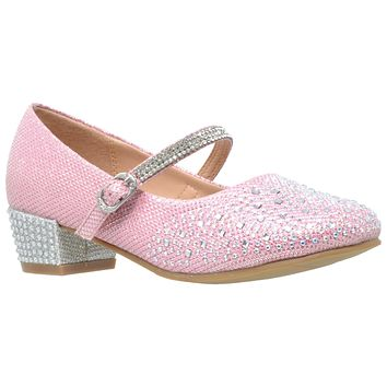 Toddler & Youth Pink Glitter Mary Jane Pump
