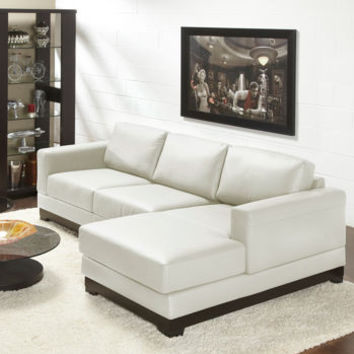 Galaxy White Top Grain Leather Sofa with Right Hand Facing Chaise