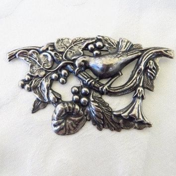 Art Nouveau Bird Brooch, Antique Sterling Bird Pin, Florals & Berries, Vintage Bird Jewelry, Nature Brooch