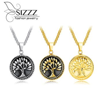 SIZZZ Cross-border electricity supply source round plate titanium steel men 's pendant life tree necklace