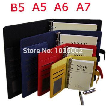 functional A7 A6 A5 B5 business handmade PU leather notebook lined spiral paper hardcover diary journals red black yellow blue