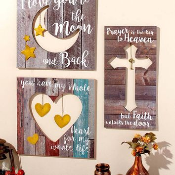 Rustic Pallet Wall Plaque Sentiment w/Charm Moon Heart Key Multicolored Wood
