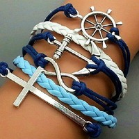 Fashion Crosses, anchors, rudders bracelet