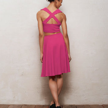 PREMIUM Grace Two-Piece Crop Top & Skater Skirt Co-Ord Set in Fuchsia Pink Ponte