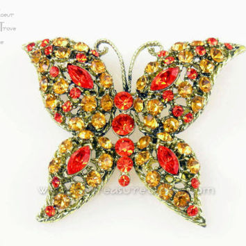 Butterfly Brooch Vintage Pin Sunny Golden Yellow Bright Orange Rhinestones