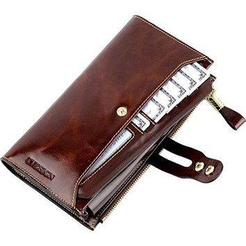 IVESIGN Womens Genuine Leather Wristlet Zipper Clutch Wallet RFID Blocking Credit Card Phone Holder Hand Purse Large Capacity