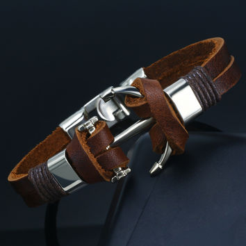 anchor bracelet Accessories homme Leather Bracelet&Bangle men femme Male 2 style indian jewelry bracciali uomo pulseras hombre