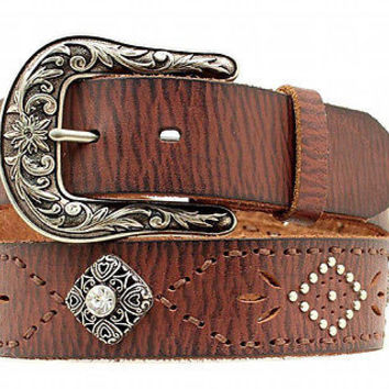 Ariat Women's Western Pierced Stitch Concho Leather Belt