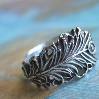 Lucky Peacock Feather Ring Oxidized Fine Silver by happygolicky