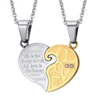 Silver and Champagne Gold Plated Stainless Steel Necklace Couple Necklace Pendant Puzzle Heart Promise Wedding Women Men Jewelry