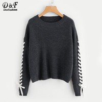 Contrast Detail Jumper Grey Loose Women Sweaters And Pullovers Round Neck Long Sleeve Sweater