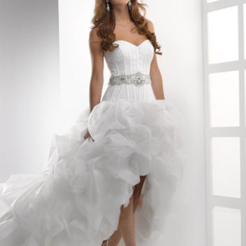 Don's Bridal Sweetheart Neck Sashes Flowers Court Train Front Long High Low Wedding Dresses 2016 A Line Bride Gown