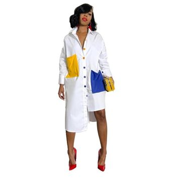 Long Autumn Sleeve White Shirt Dress Women Turn Down Collar Button Up Blouse Dress Oversized Midi Shirt Dress With Pockets designer clothes