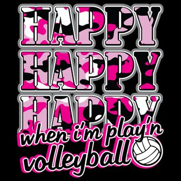 Happy, Happy, Happy - Volleyball T-shirt by VictorySportsGraphics