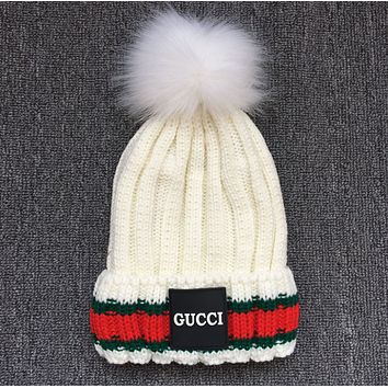 Gucci Women Men Winter Knit Hat Cap Scarf Set Two-Piece