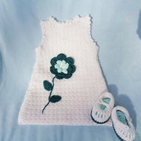Crochet Newborn Sundress White w Flower Baby Girl 0 3 mo Maryjanes
