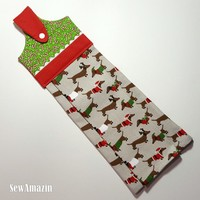 Hanging Kitchen Towel Christmas Dogs, Holiday Tea Towel, Christmas Kitchen Decor | SewAmazin