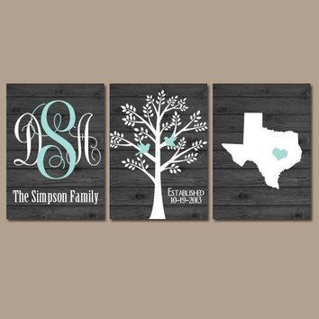 Family Tree Wall Art, Personalized Monogram State Tree, CANVAS or Print, Christmas Gift for Couple, Custom Wedding Gift Friend, Set of 3