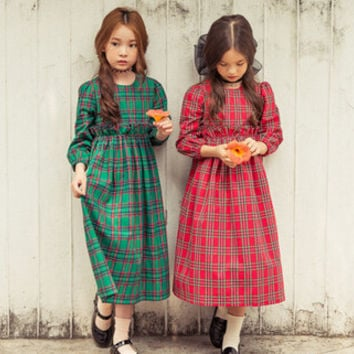 "The ""Leanna"" Girls Plaid Holiday Vintage Dress"