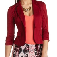 RUCHED SLEEVE SINGLE BUTTON BLAZER