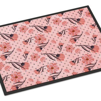 Pink Flowers and Polka Dots Indoor or Outdoor Mat 18x27 BB7499MAT