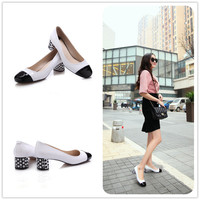 Leather Square Toe Low-cut Shoes [4920623748]