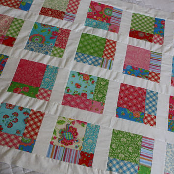 Gypsy Girl by Moda, Baby Girl Quilt, Lap Quilt, Pink, Green, Red, White, Blue