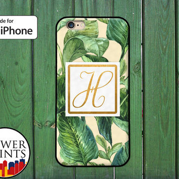 Monogram Initial Gold Tropical Green Leaves Pattern Fancy iPhone 5 5s 5c iPhone 6 and 6 Plus iPhone SE iPhone 6s Case iPhone 7 Plus Case