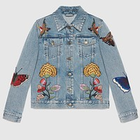 Gucci Trending Women Loose Brief Paragraph Denim jacket Embroidery Long Sleeve Coat Top