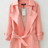 Pink Shiny Light Trench Coat