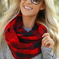 Plaid Infinity Scarf Black/ Red