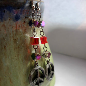 Peace sign earrings with glass beads, groovy hippie earrings with a unique twist on peace sign jewelry, peace symbols are always in style