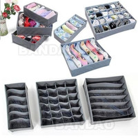 3pc/set Foldable Bamboo Charcoal Storage Organizer Box Underwear Bra Sock Ties+