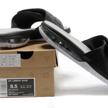 ONETOW Nike Air LeBron Slide 78251460 Black/White Casual Sandals Slipper Shoes Size US 7-11