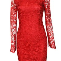Red Lace Draped Back Long Sleeve Dress