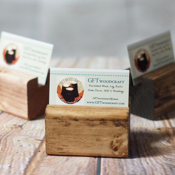 Reclaimed Wood Business Card Stand, Holder
