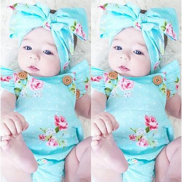 Newborn Baby Girls Floral One-pieces Romper Sunsuit Headband Clothes Set 0-24M