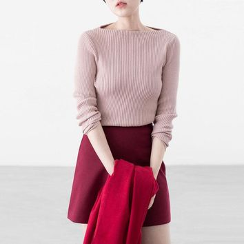 ONETOW Fashion word collar bodycon knit sweater