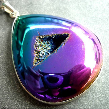 Titanium Quartz Rainbow Aura Crystal Geode Druzy Pendant Necklace by AstralEYE