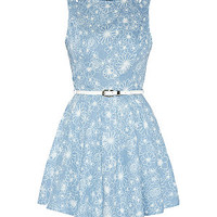 Parisian Blue Denim Floral Print Cut Out Skater Dress