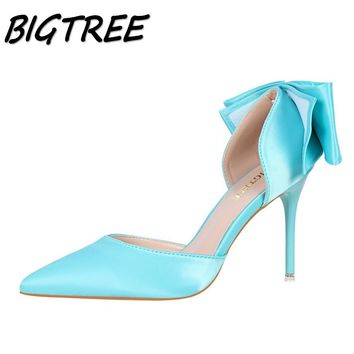 BIGTREE new women pointed toe High heel shoes woman silk shallow pumps Fashion ladies back Butterfly-knot Sexy stilettos shoes