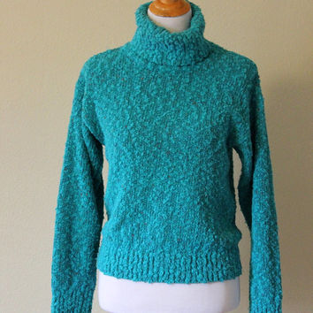 Vtg Turquise Turtleneck Sweater Women's Medium Jumper Confetti Yarn Boucle Knit