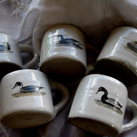 Handcrafted Glazed Pottery Set of FiveRealistic  Historical  DUCK DECOY Mugs GREAT