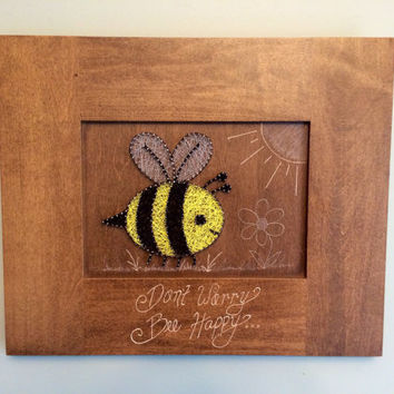 Bumble bee string art, Don't worry - bee happy, nursery decor, home decor, 16 x 13""