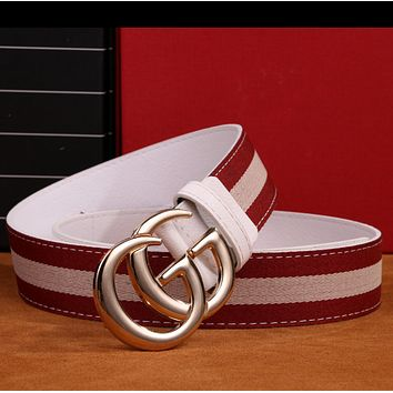GUCCI Fashion Woman Men Fashion Smooth Buckle Belt Leather Belt Red Beige G
